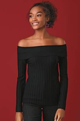Next Womens Black Rib Bardot Jumper - Black