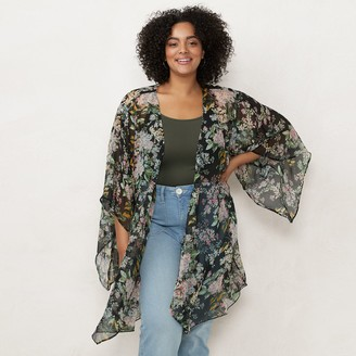 Lauren Conrad Plus Size Florabelles Flower Printed Kimono