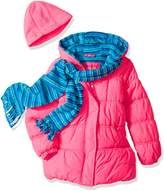 Pink Platinum Little Girls' Stripe Puffer with Hat and Scarf