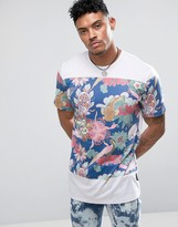 Jaded London T-Shirt In White With Floral Print Panel