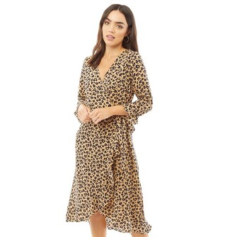 Brave Soul Womens Mirranda All Over Print Wrap Dress Brown/Navy Heart Print