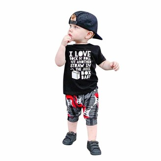 Shenye ClearanceSale 0-3Years Toddler Baby Boys&Girls Short Sleeve Letter Print Tops+Guitar Shorts Outfits