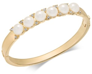 Charter Club Gold-Tone Pave & Imitation Pearl Hinged Bangle Bracelet, Created for Macy's