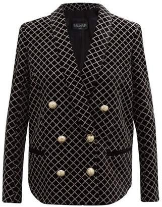 Balmain Glitter Grid Double Breasted Velvet Blazer - Womens - Black Multi