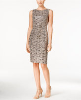 Calvin Klein Petite Lace Ruched Sheath Dress