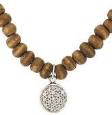Sydney Evan 14K Diamond Disc & Wood Bead Necklace