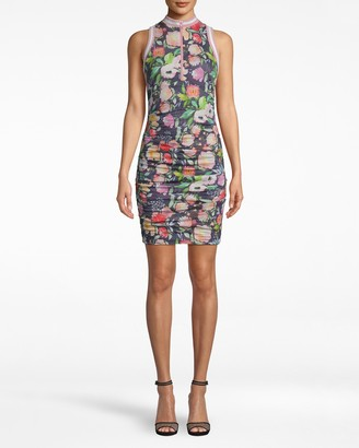 Nicole Miller Watercolor Floral Zip Front Dress