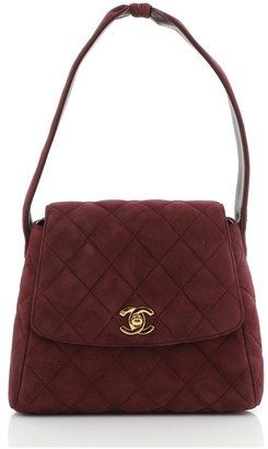 Chanel Top Handle Flap Bag Quilted Suede Small