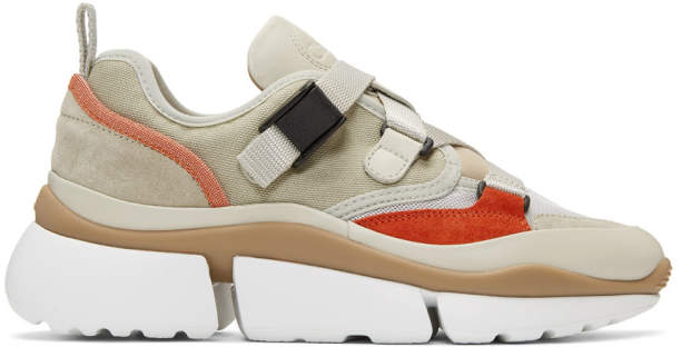 Chloé Grey and Beige Sonnie Sneakers