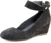 J. Renee Melenne Women Open Toe Suede Black Wedge Heel.