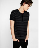 Express cotton striped short sleeve henley sweater