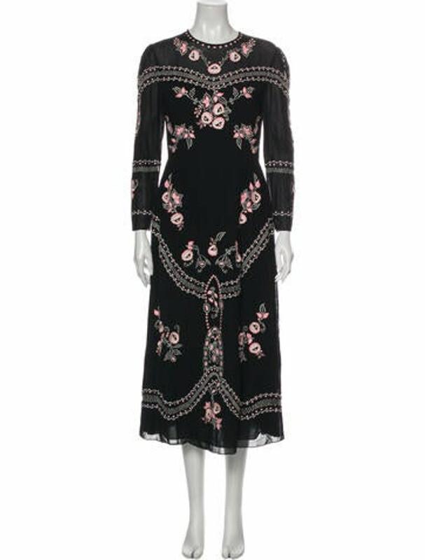 Thumbnail for your product : Vilshenko Floral Print Long Dress Black
