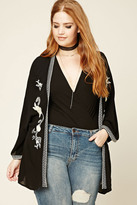 Forever 21 FOREVER 21+ Plus Size Embroidered Kimono