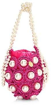 Alameda Turquesa Women's Mini Hana Woven Imitation Pearl Top Handle Bag