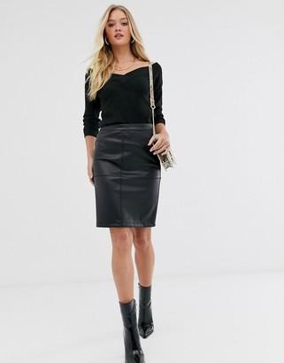 Vila faux leather skirt-Black