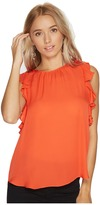 Heather Florence Silk Frill Sleeve Tank Top Women's Clothing