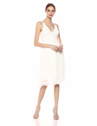 Dress the Population Women's Alicia Plunging Mix Media Sleeveless a-Line Midi Dress