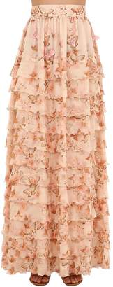 Luisa Beccaria Printed Tiered Silk Georgette Skirt