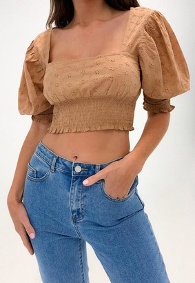 Missguided Camel Broderie Anglaise Puff Sleeve Milkmaid Crop Top