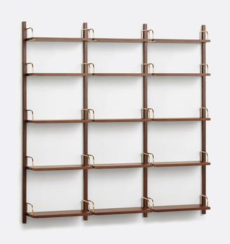 Rejuvenation Hart Modular Walnut 5-Shelf Triple Shelving Unit
