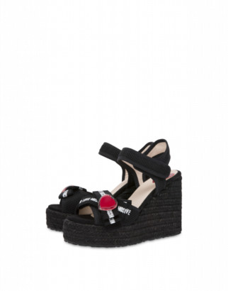 Love Moschino Wedge Sandals Heart Bow Woman Black Size 37 It - (7 Us)