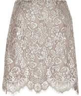 River Island Womens Silver metallic lace mini skirt