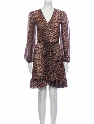 Ganni Animal Print Knee-Length Dress Brown