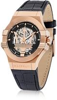 Maserati Potenza Auto Black Dial and Leather Strap Gold Tone Men's Watch