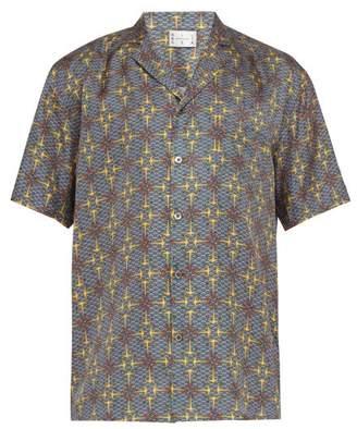 All At Sea - Anchor-print Short-sleeved Silk Shirt - Mens - Multi