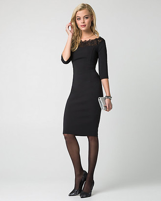 Le Château Lace & Woven Off-the-Shoulder Dress