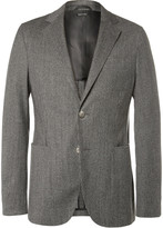 Giorgio Armani Upton Grey Slim-Fit Unstructured Houndstooth Jacquard Blazer
