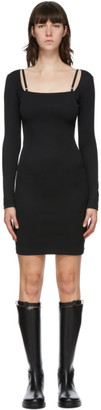 Helmut Lang Black Square Neck Rib Dress