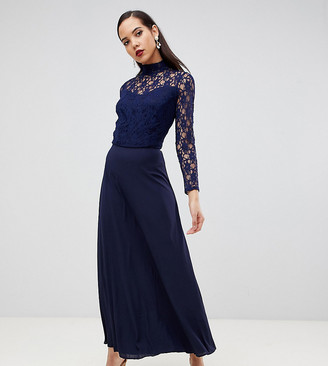 John Zack Tall Over Lace Top Maxi Dress With Open Back