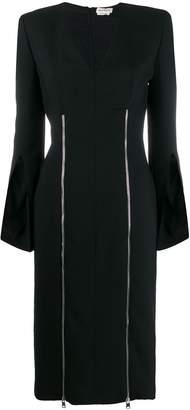 Alexander McQueen square shoulder zip detail dress