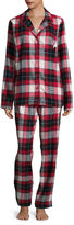 SLEEP CHIC Sleep Chic Flannel Notch Collar Pant Pajama Set