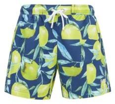 HUGO BOSS Quick Dry Swim Shorts With New Season Print - Light Blue