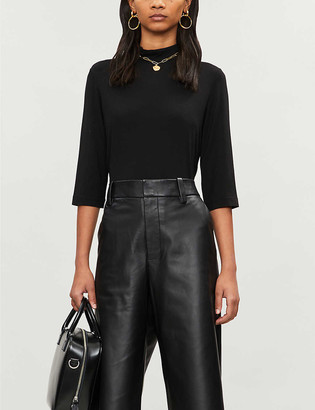 Vince High-neck stretch-jersey top