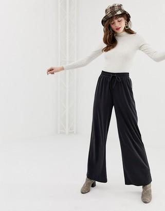 Monki soft wide leg sweatpants in black