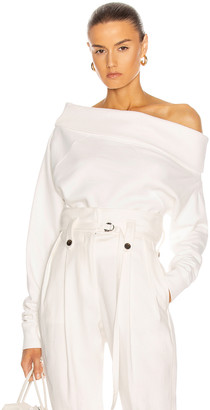 Marissa Webb So Relaxed Off The Shoulder Plush Sweatshirt in White | FWRD