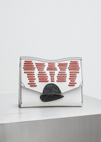 Proenza Schouler optic white / black / red small curl clutch