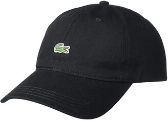Lacoste Little Croc Twill Leatherstrap Cap (Black) Baseball Caps