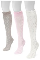 Muk Luks Women's 3 Pair Pack Pointelle Knee High Socks - Multicolor One Size