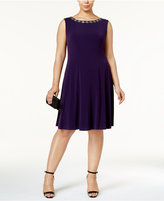 Connected Plus Size Embellished Neckline A-Line Dress