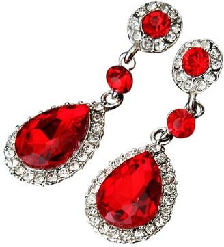 Maheegu Earrings Dangle Drop Earrings Wedding Jewelry Rhinestone Style Wedding Earrings for Women Girls Long Pendant Earrings (Red 1.8cm)