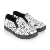 Boys White Trombone Leather Slip On Shoes