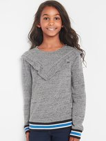 Gap Stripe-trim ruffle sweatshirt