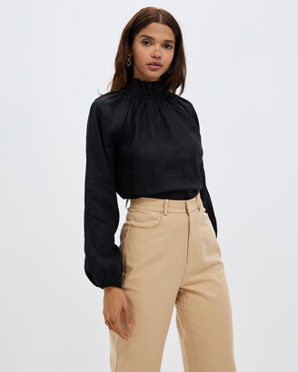 AERE - Women's Black Long Sleeve Tops - High Neck Linen Blouse - Size 6 at The Iconic