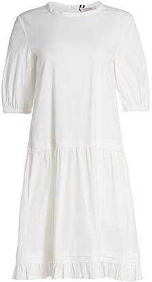 Max Mara Dania Poplin Ruffle Short-Sleeve Shift Dress