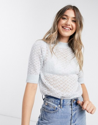 JDY puff round neck knitted top in light blue