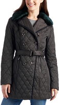 Laundry by Shelli Segal Black Faux Fur-Trim Quilted Jacket